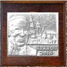 Metalowy obrazek Ojca Świętego na deseczce